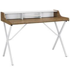 Bin Wood-Grained Melamine Top Metal Legs Office Desk in Walnut