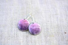 Purple enamel earrings - round dangle sterling silver - artisan jewelry by Alery by alery on Etsy