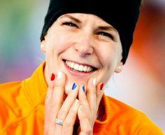 Ireen Wust met haar prachtig gelakte nagels. 100% Hollands!