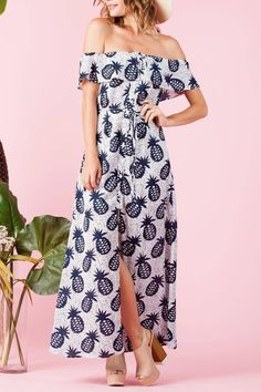 196da28f6e48 lucca couture Pineapple Maxi Dress