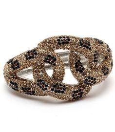 "$39.99 Leopard BLING Topaz Swarovski Crystal & Rhinestone Hinged Bangle 1 3/4"" Wide by Jersey Bling: Jewelry: Amazon.com"