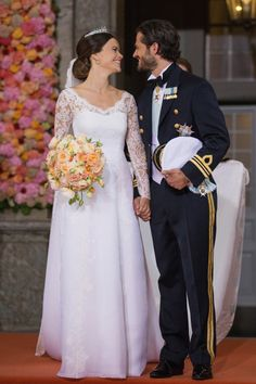 The new royal bride and groom: http://www.stylemepretty.com/europe-weddings/sweden/stockholm/2015/06/14/another-royal-wedding-prince-carl-philip-of-sweden-and-sofia-hellqvist-say-i-do/ | Photography: Getty Images - http://www.gettyimages.com/