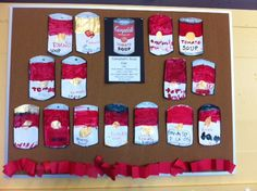 Campbell Soup Cans, K-1st grade art lesson.  Would be fun to use neon colors, like Warhol