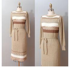 1970s Sweater Dress  Pointelle Stripe Knit by OldFaithfulVintage, $45.00