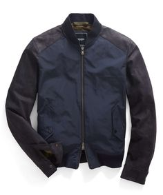Todd Snyder - Leather & Nylon Bomber Jacket