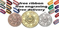 10x 50mm metal medal free engraving, #ribbon & uk postage kids #rugby #party,  View more on the LINK: http://www.zeppy.io/product/gb/2/151747187342/