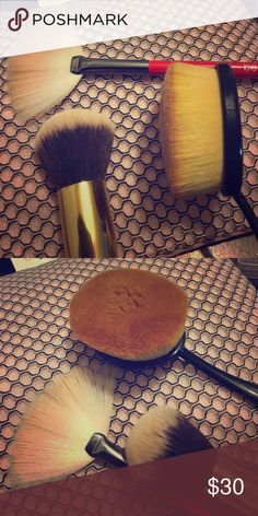 Makeup Brush Bundle All used once.  One large round brush, a fan brush, and a traditional foundation brush.  All upscale brand. Makeup Brushes & Tools