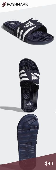 timeless design b5497 3905f Adidas sandals ADISSAGE SLIDES Like a spa for your feet, these men s slides  have massage nubs on the footbed that soothe and relax tired muscles.