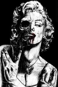 Marilyn Monroe, skull, and art image Marilyn Monroe Tattoo, Marilyn Monroe Artwork, Marylin Monroe, Dark Fantasy Art, Dark Art, Tattoo Caveira, Arte Punk, Catrina Tattoo, Bd Art