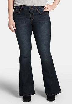 DenimFlex™ plus size dark wash flare jeans | maurices