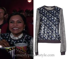 """Mindy's sleeveless sequined top from """"The Parent Trap"""" started life as a sweatshirt but paired with the matching skirt and a print blouse it makes a festive Mindy Lahiri mixed print ensemble!Manoush Sequin Print Sweatshirt - $194 (was $258, 25% off until 12/6)Worn with Manoush skirt and Valentino coat"""