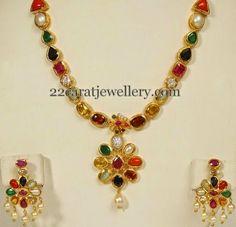 Navaratna Mala with Earrings - Jewellery Designs Gold Earrings Designs, Gold Jewellery Design, Bead Jewellery, Necklace Designs, Beaded Jewelry, Gold Designs, Designer Jewelry, Gold Jewelry Simple, Trendy Jewelry
