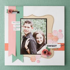 Honeycomb mosaic on scrapbook page using the My Acrylix® Honeycomb stamp set. #CTMH