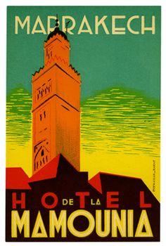 Artist Unknown poster: Hotel de la Mamounia - Marrakech (luggage label)