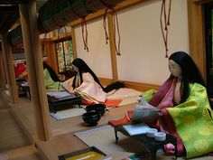 https://flic.kr/p/5AuiSU | The courtier's life of the Tale of Genji, Heian Era | Her royal highness Shyousei and her father regent Michinaga sit in a room together in her parent's home. During her time of confinement (pregnancy) she wanted more Tales of Genji. Muarasaki Shikibu was presented with paper and writing implements to make copies of Genji.