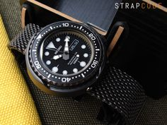 LEFT: 21.5mm SUPER Engineer Type II Solid Stainless Steel Watch Bracelet, Seiko Tuna Replacement Strap, Chamfer Diver Clasp PVD Black [SS212218BBK034] SUPER Engineer Type II PVD BLACK This Super En…