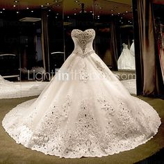 Princess Wedding Dress Chapel Train Strapless Tulle with Beading 2016 - $486.49