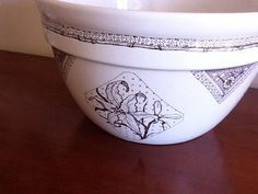 Mixing bowl decorated by David B. Kelly..  This needs to have the blossoms hand painted.