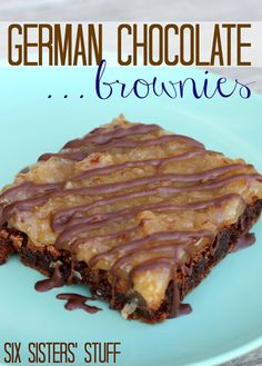 German Chocolate Brownies from SixSistersStuff.com - these are gooey and so good!