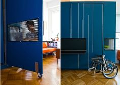 Parede Azul Multifuncional – Ideias Diferentes