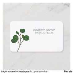 Simple minimalist eucalyptus therapy specialist business card Spiritual Coach, Spiritual Healer, Unique Office Supplies, Elegant Business Cards, Personal Stylist, Dressmaking, Wedding Planner, Therapy, Stationery