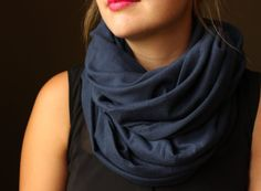 Navy Circle Scarf Infinity Scarf Circle Scarf by slyscarves, $25.00