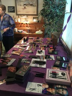 In home Younique Party table! Tried to have as many products, pictures and info so everyone could see as much as possible.