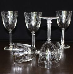 Stunning, Set of 5, Vintage Libbey, Crystal Leaf Water Goblets by cocoandcoffeevintage