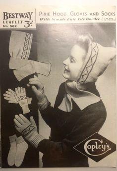 Bestway pixie hood  gloves and socks PDF by VintageKnitsWithKit, £1.11
