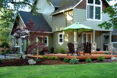 love the deck/patio areas in this backyard!