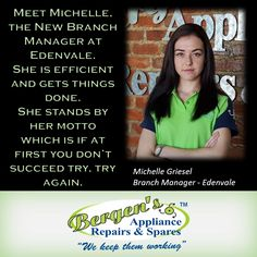 Meet Michelle Griesel our new Edenvale Branch Manager.  #wekeepthemworking #bergensappliances #appliancerepairs #dishwashers #stoves #washingmachines #tumbledriers #wefixappliances #bergensedenvale  Follow us on Instagram and Pinterest Contact:  079 884 0543 Email:  edenvale@bergens.co.za
