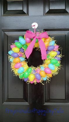 Easter egg wreath with Easter grass added as a filler