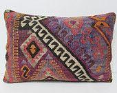 16x24 purple kilim pillow nursery lumbar pillow turkish rug wool decorative pillow retro decor rug outdoor pillow set furniture pillow 26155