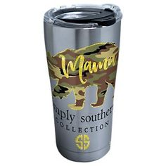 The Tervis® Tumbler Simply Southern® Camo Mama Bear Stainless Steel Tumbler with Hammer Lid is the perfect travel mug for the mom who drives the cubs. This Tervis insulated cup keeps drinks cold up. Tumbler Boys, Tervis Tumbler, Tumblr Cup, Yeti Cup, Insulated Cups, Wall Insulation, Cup Design, Simply Southern, 8 Hours