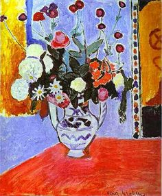 Vase with Two Handles (A Bunch of Flowers) : Henri Matisse : Fauvism : flower painting - Oil Painting Reproductions Henri Matisse, Matisse Kunst, Matisse Art, Matisse Drawing, Art Floral, Maurice De Vlaminck, Matisse Paintings, Raoul Dufy, Post Impressionism