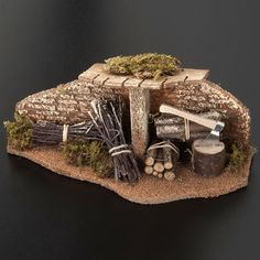 Do similar thing with bush prunings to make woodpile outside Dark Age houseNativity set setting, hatchet with bundles and roof Sale: Nativity set setting, hatchet with bundles and roof for do-it-yourself nativity scene set. Nativity Scene Sets, Christmas Nativity Scene, Christmas Tree Ornaments, Christmas Decorations, Christmas Crib Ideas, Christmas Crafts, Diy Nativity, Art Deco Bedroom, Toy Barn