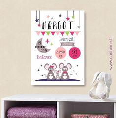 cadeau de naissance fille personnalis affiche de. Black Bedroom Furniture Sets. Home Design Ideas