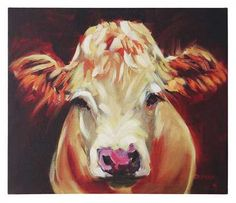 """Every home needs a touch of Southern charm. This Maggie Moo Cow Canvas is a darling print that will add a bit of farm life into any home! 24""""L x 20""""H Canvas Wal"""