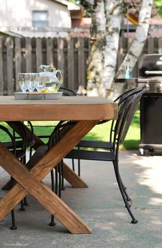 Build this DIY Outdoor Table featuring a Herringbone Top and X Brace Legs! Would also make a great Rustic Dining Room Table! Outdoor Wood Table, Diy Outdoor Kitchen, Diy Outdoor Furniture, Outdoor Dining Set, Rustic Outdoor, Outdoor Decor, Wood Tables, Fine Furniture, Modern Furniture