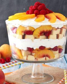 Peach Raspberry Sangria Trifle | Homemade Trifle Recipes | https://homemaderecipes.com/trifle-recipes-homemade/