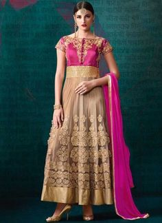 Magenta Beige Embroidery Work Banarasi Silk Net  Designer Long Anarkali Suit Everyone wants to be happy.No one wants to be sad & get pain.But u can't make a rainbow without a little rain.