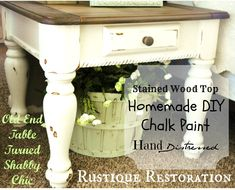 Rustique Restoration: Old End Table, New Look! with DIY chalk paint recipe! 1/4 cup water 4 tbs cornstarch 1 1/2 cups paint ...shared by Vivikene