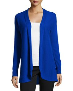Cashmere Pleated-Back Open-Front Cardigan, Blue by Neiman Marcus at Neiman Marcus Last Call.