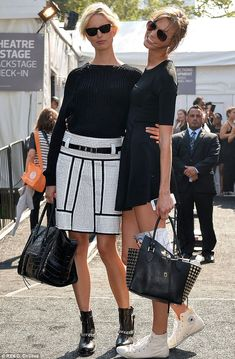 Karolina Kurkova in Sandro ATLANTA Boots, backstage with Karlie Kloss during New York Fashion Week 2013