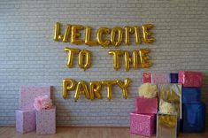 """WELCOME To THE PARTY 16"""" Rose Gold ,Silver,Gold Foil,Mylar Balloons , Birthday, Engagement, Wedding Banner,Hen Party, Bride Groom"""