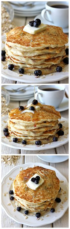 Blueberry Oatmeal Yogurt Pancakes - Start your mornings off right with these light and healthy pancakes loaded with juicy blueberries!