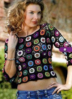 Receitas de Crochet: Blusa Colorida