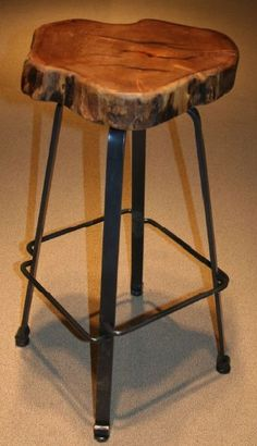 Forged Metal Bar Stool - Slab Mesquite Top -  Swivel Seat - Item # BS00835 - Custom Sizes - Metal Options - Seat can be made round or natural as shown.