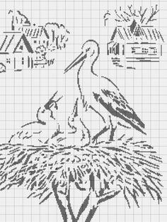 oiseau - bird - cigogne - Point de croix - cross stitch - Blog : http://broderiemimie44.canalblog.com/
