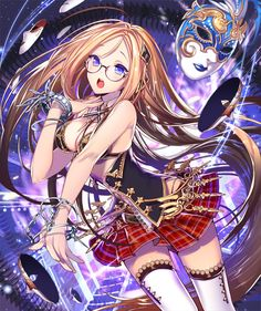 Anime picture 670x800 with empew (artist) single tall image open mouth brown hair purple eyes very long hair girl thighhighs skirt glasses white thighhighs bracelet pleated skirt chain lingerie bra mask